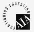 The logo of American Institute of Architects (AIA), an Ecore education affiliate.