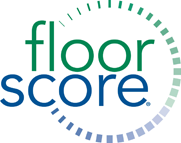The FloorScore certification logo, an environmental certification Ecore achieves in many of its products.