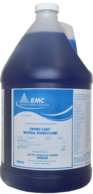 Enviro Care Neutral Disinfectant is available in a one-gallon container and can be used to disinfect all surfaces – equipment, counter tops, and walls. An approved disinfectant under the U.S. Environmental Protection Agency's Emerging Viral Pathogen Guidance, in response to COVID-19 and other viruses. Coverage Rate: Makes 64 gallons of disinfectant
